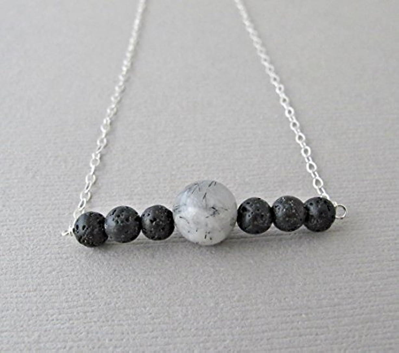 宇宙アルカイック時系列Tourmalinated quartz Lava Pendant Essential Oil Necklace Diffuser Aromatherapy - Simple Minimalist Lava Bead Diffuser...