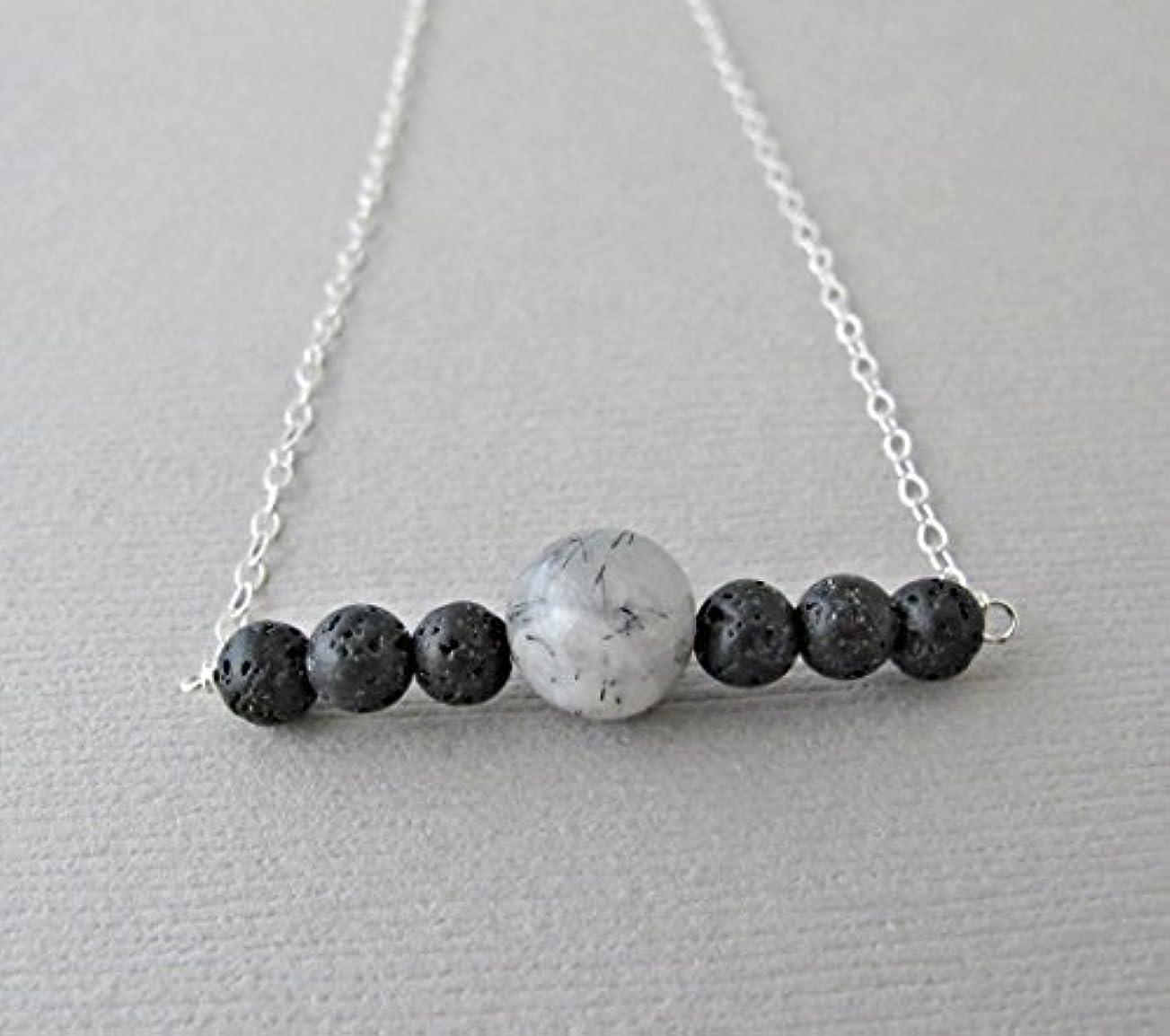 無視するフローラフレシアアルノルディTourmalinated quartz Lava Pendant Essential Oil Necklace Diffuser Aromatherapy - Simple Minimalist Lava Bead Diffuser...