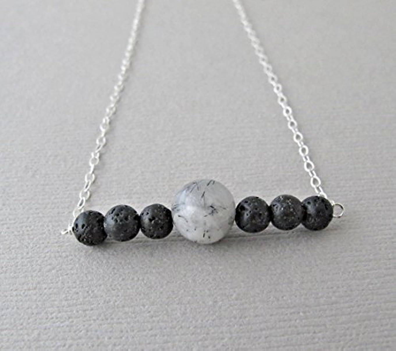 インデックスチップ美人Tourmalinated quartz Lava Pendant Essential Oil Necklace Diffuser Aromatherapy - Simple Minimalist Lava Bead Diffuser...