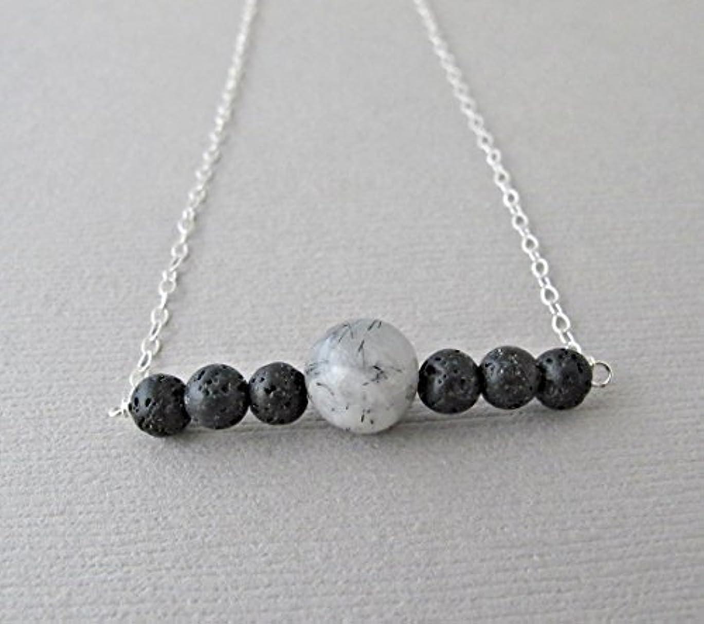 借りるエンターテインメント運動Tourmalinated quartz Lava Pendant Essential Oil Necklace Diffuser Aromatherapy - Simple Minimalist Lava Bead Diffuser...