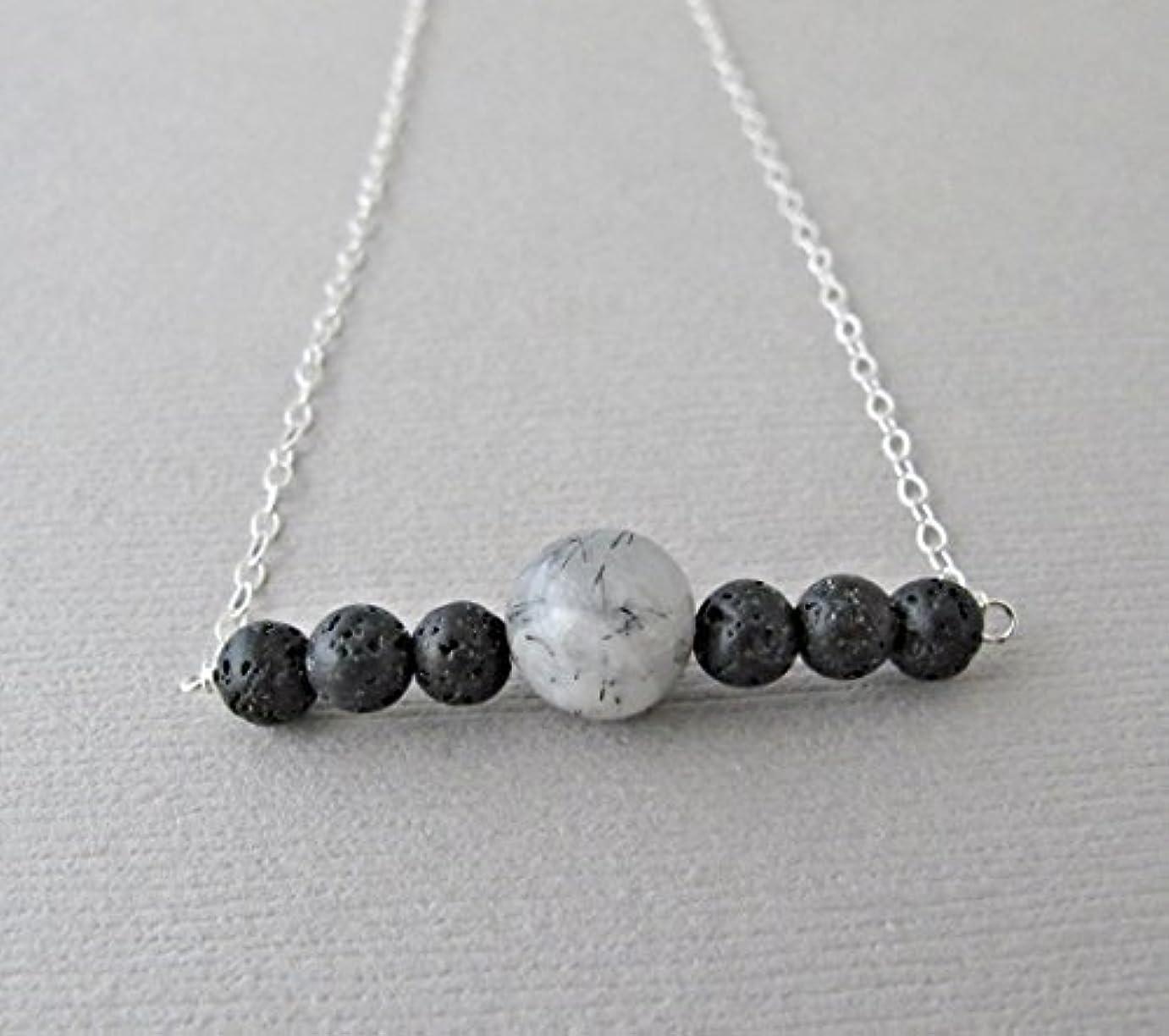 内側半導体水を飲むTourmalinated quartz Lava Pendant Essential Oil Necklace Diffuser Aromatherapy - Simple Minimalist Lava Bead Diffuser...