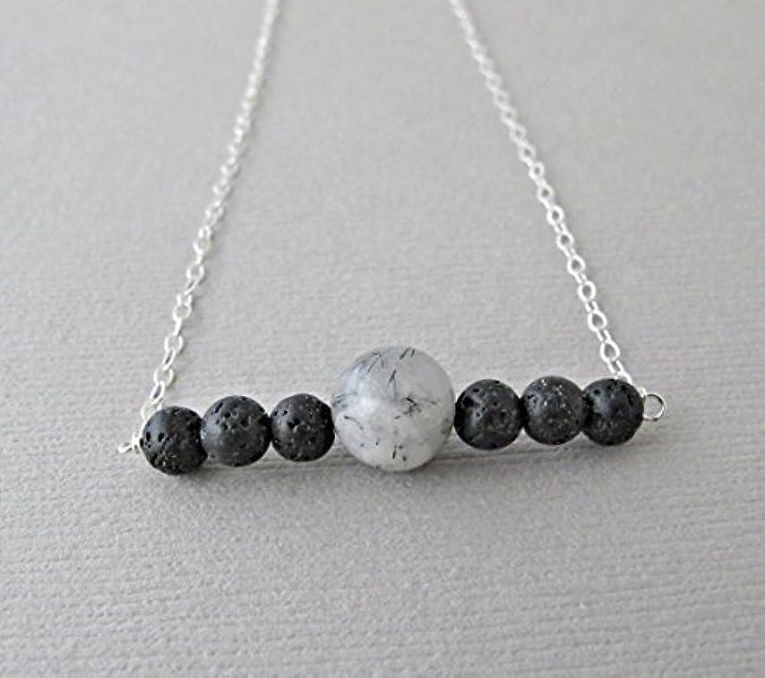 入学する出版トレードTourmalinated quartz Lava Pendant Essential Oil Necklace Diffuser Aromatherapy - Simple Minimalist Lava Bead Diffuser...
