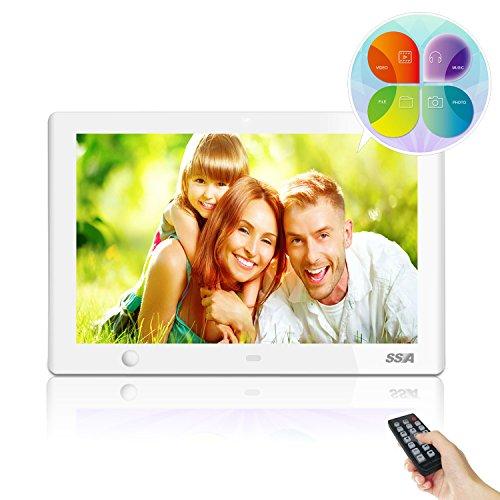 SSA 10.1インチ SSA デジタルフォトフレーム 「画面解像度:1024 × 600 / 写真、動画、音楽、カレンダー機能搭載」 (ホワイト)