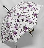 ステッキとしてご使用になれるステッキ傘(つえかさ)ジャガード織りバラ柄 手開き 晴雨兼用 白大花