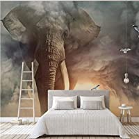 Lcymt 3D動物壁画壁紙カスタム象不織布写真壁紙リビングルームソファテレビ子供部屋ホームデコレーション-280X200Cm