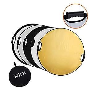 Selens 5-IN-1 撮影用 丸レフ板 ポータブル 折りたたみ可能 80cm  (1枚で5色対応-金/銀/白/黒/半透明)