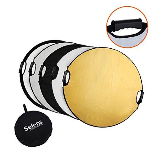 Selens 5-IN-1 撮影用 丸レフ板 ポータブル 折りたたみ可能 110cm (金/銀/白/黒/半透明)