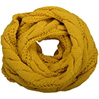 NEOSAN Womens Thick Ribbed Knit Winter Infinity Circle Loop Scarf Twist Mustard