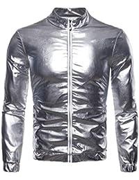 Sodossny-JP メンズヒップスター軽量フロント郵便クラブパーティー金属ジャケットコート