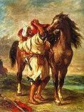 Eugene DelacroixアラブSaddling His Horse 1855 72x96
