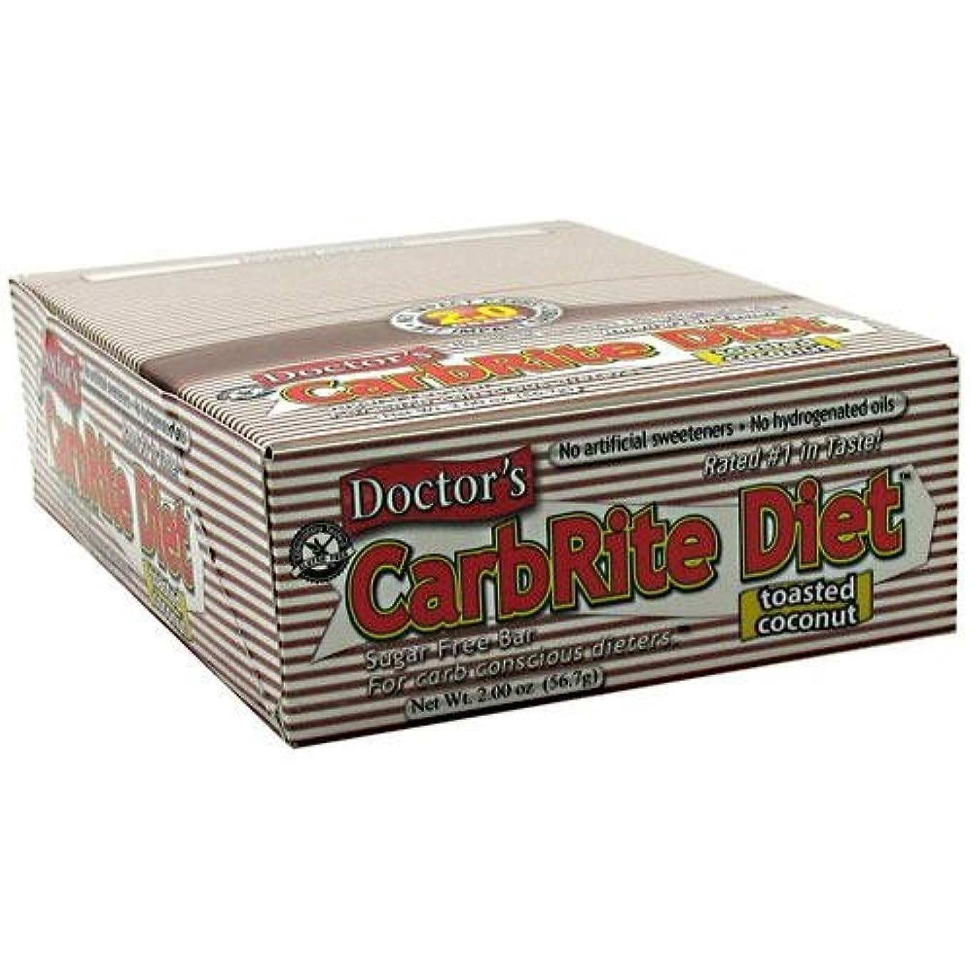 ビルフレキシブル平らにするDoctor's CarbRite Diet Toasted Coconut Bars, 2 oz, 12 count by Universal Nutrition