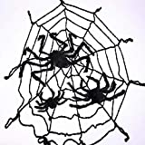 3.7 M (12 Ft) Black Spider Web + Three Plush Spiders Halloween Scene Layout Props Party Spider Web Pendant Decoration