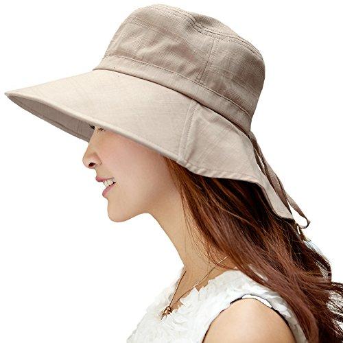 (シッギ)Siggi おしゃれ コットン 女優帽子 バケットハット 日よけ帽子 ハット 帽子 シェードハット レディース 春夏 つば広 uv フリーサイズ あご紐 ゆったり 無地 リボン アウトドア 旅行 ゴルフ 釣り 自転車 農作業 プール カーキ