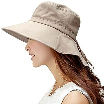 日焼け止め uvカット帽子 レディース 日よけ帽子 つば広 ハット 日除け防止 紫外線対策 婦人用 女優帽 夏用 農作業 園芸 ガーデニング 自転車 アウトドア 折りたたみ ひも uvhat かわいい サファリハット ぼうし 大きいサイズ 57㎝ カーキ