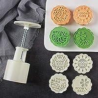 1セットオプション50グラム月ケーキ金型プラスチックベーキングペストリーツール中国語ムーンケーキプランジャーハンドプレスMooncake金型安いベーク:31181