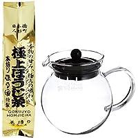iwaki(イワキ)耐熱ガラス ジャンピング ティーポット ブラック 640ml K894T-BK 森乃園 極上ほうじ茶 175g セット(iwakiティーポットK894T-BK +極上ほうじ茶175g)