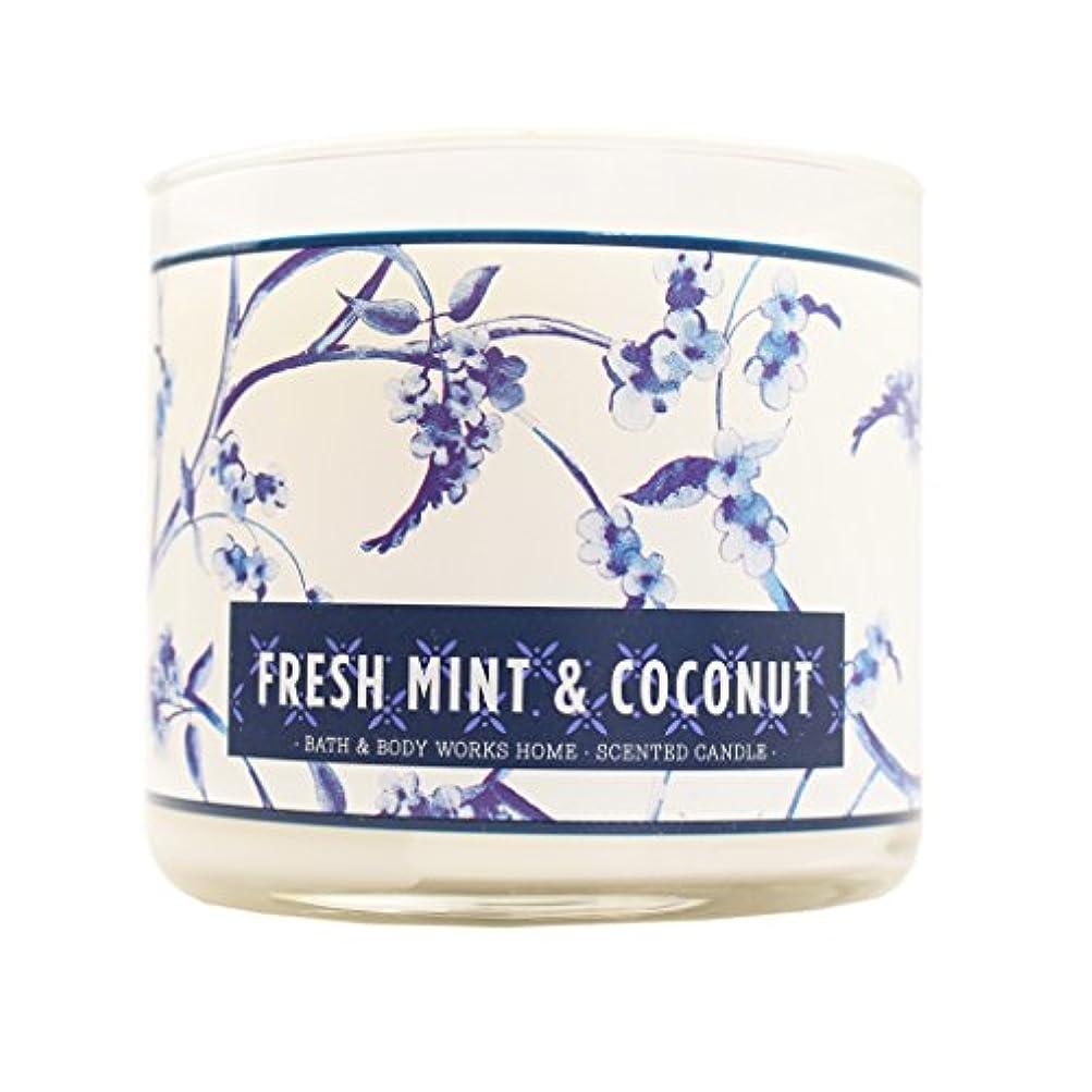 馬力広まった受信Bath & Body Works Candle 3 Wick 14.5オンスフレッシュミント& Coconut