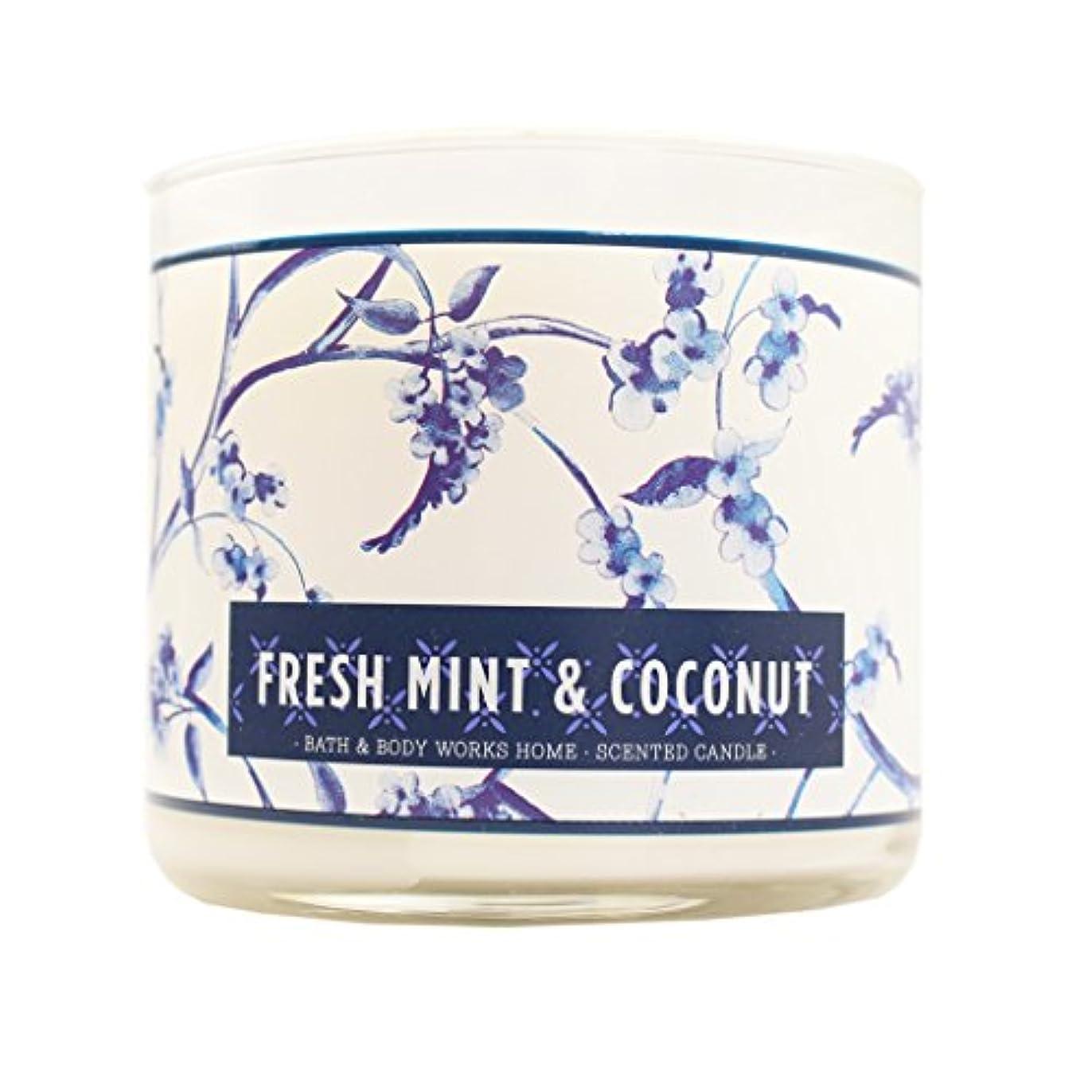 広まった保険をかける方法論Bath & Body Works Candle 3 Wick 14.5オンスフレッシュミント& Coconut