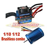 60A ESC ブラシレス スピードコントローラ &9T 4400KV ブラシレスモーター 1/10 1/12 RC カー対応 9T 4400KVモーター&60A ESC
