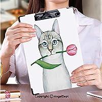 カスタム クリップボード クリップファイル 学校・ご家庭・オフィスなど場所猫のキャラクターの肖像画、チューリップを握る (2パック)