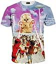 (ピゾフ)Pizoff メンズ Tシャツ 夏服 丸首半袖 ネコ柄 おしゃれ おもしろ スリム ヒップホップ 個性的 快適 カジュアル 男女兼用 トップス Y1625-48-L