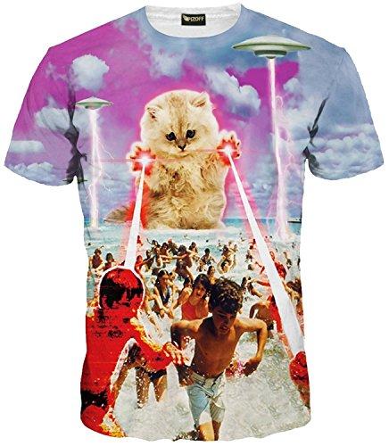 (ピゾフ)Pizoff メンズ Tシャツ 夏服 丸首半袖 ネコ柄 おしゃれ おもしろ スリム ヒップホップ 個性的 快適 カジュアル 男女兼用 トップス Y1625-48-M