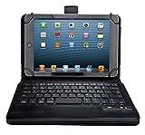 KuGi 7 ~ 8 インチ タブレット Bluetooth キーボード AU Qua Tab PX など 7インチ ~ 8インチ タブレット PC 対応 Bluetooth キーボードケース ワイヤレス 一体型 脱着式 スタンドカバー 良質PUレザーケース付き 英語配列 キーボード 手帳型 ( ブラック )