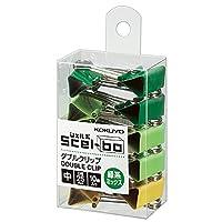 コクヨ クリップ ダブルクリップ Scel-bo 個箱タイプ 中サイズ 口幅25mm 10個 緑系ミックス クリ-J34GMX