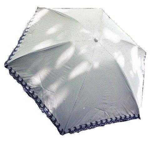 (ソフィスティケイテッドウィンド)SophisticatedWind日傘ピンクストライプカジュアルシンプル折り畳み丈夫刺繍UVカットコンパクトおしゃれ高級上品(水色)