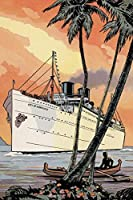 City of Honolulu byレトロ旅行ハワイヴィンテージ船ボート印刷ポスター20x 30