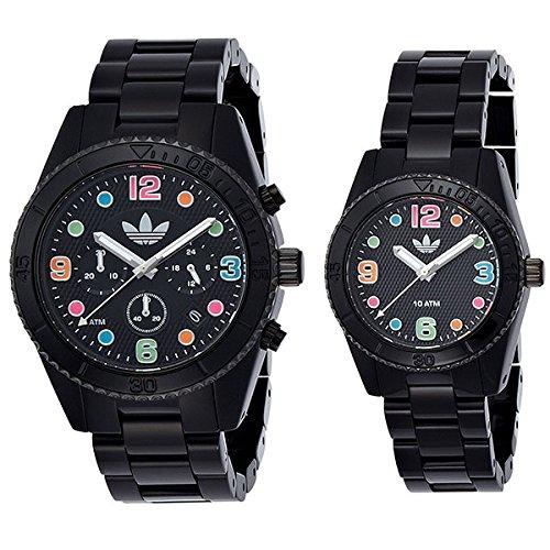 [アディダス]Adidas ペアウォッチ ブリスベン 44mm 33mm カラフルインデックス ブラック プラスチック ADH2946ADH2943 腕時計 [並行輸入品]