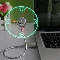 Balee usb扇風機 小型 usb時計付き扇風機 ミニusbタイムクロックファン 角度調整可能 LED時計ファン(銀色)