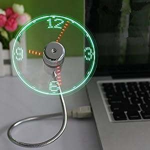 Balee PC /ノートパソコン/パワーバンク/ USB充電用のLEDライトとミニUSBフレキシブルなタイムクロックファン 角度調整可能 小型 扇風機 (本体銀色, LEDレッドとグリーン)