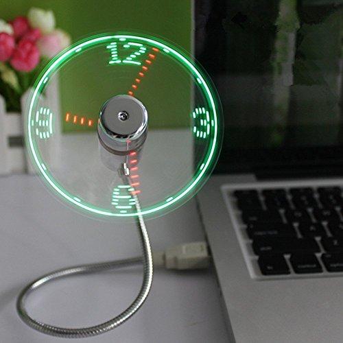 Balee PC /ノートパソコン/パワーバンク/ USB充電用のLEDライトとミニUSBフレキシブルなUSB LEDクロックファン LED 時計 デジタル 扇風機 2枚羽 シルバー デスクファン ミニ コンパクト 小型 扇風機 (本体銀色, LEDレッドとグリーン)