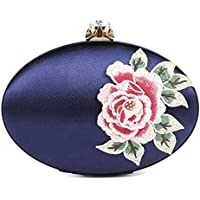 Damara Womens Embroidery Evening Bag Oval Mental Clutch