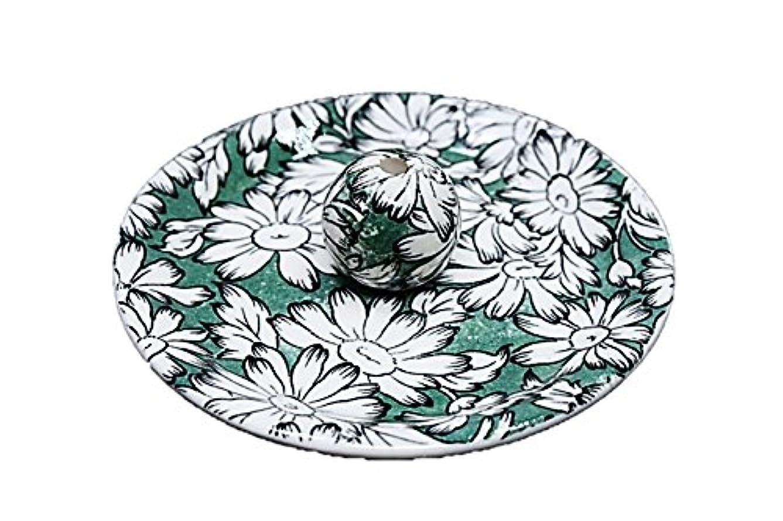 平らな膜移動9-10 マーガレットグリーン 9cm香皿 お香立て お香たて 陶器 日本製 製造?直売品