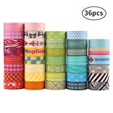 36 Roll Washi Tapes, Washi Masking Decorative Tapes for DIY Decor Planners Scrapbooking Adhesive School Party Supplies
