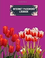 internet password logbook: 8.5x11 cute internet password book | cool internet password logbook paper with page numbers | internet password logbook | internet password notebook journal paper | tulip flower plant nature boysenberry color