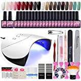 20PC Nail Gel Polish Kit 36W White LED Curing Nail Lamp Top coat and Primer French Nail Sticker Nail Manicure Tools