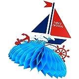 Perfk ハニカムボール 誕生日 お祝い  飾り付け 海テーマ ブルー ポンポンフラワー ロマンチック おもちゃ