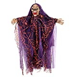 Hanging Halloween Ghost Prop Realistic Floating Scary Decoration -Screams, Laughs, Eyes Strobe - Battery Operated Purple Witch