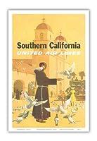 南カリフォルニア - ユナイテッドエアラインズ - スペインのミッション、パドレ摂食鳥 - ビンテージな航空会社のポスター によって作成された スタン・ガリ c.1950s - アートポスター - 31cm x 46cm