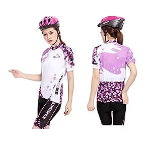 サイクリングウェア レディース サクラシリーズ 桜 春夏用 サイクルジャージ 吸汗速乾伸縮素材 小物入れバックポケット 並行輸入正規品 LNKB-SW (短袖セット・ライトパープル, S)
