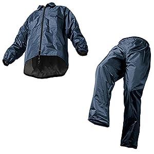 Makku(マック) レインスーツ・上下セット ネイビー 6L 裾上げ調整可能 防水 アジャストマック AS-5100