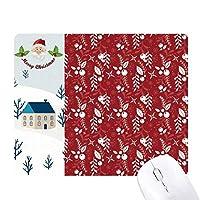 赤白の装飾クリスマスパターン サンタクロース家屋ゴムのマウスパッド