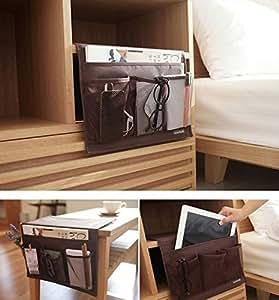 ベッド サイド ポケット リモコン ラック こたつ や テーブル 小物 整理 はさんで使える リモコン ラック [White Castle] (ブラウン)
