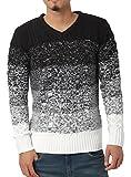 JIGGYS SHOP (ジギーズショップ) ニット セーター メンズ Vネック ケーブル編み 厚手 長袖 防寒 ボーダー アメカジ S B グラデーション