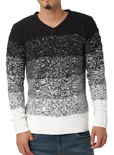 JIGGYS SHOP (ジギーズショップ) ニット セーター メンズ Vネック ケーブル編み 厚手 長袖 防寒 ボーダー アメカジ L B グラデーション