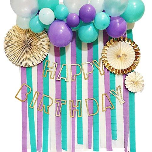 Hanamei 誕生日 飾りつけ 装飾 バースデーデコレーションセット no.5 クレープストリーマー バルーン ガーランド ペーパーファン (マーメイドブルー) pa021
