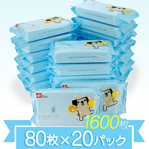 【Amazon.co.jp限定】 純水99% おしりふき 「ポチ」 80枚入×20個 (1600枚) 日本製 パラベンフリー